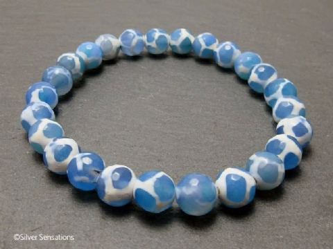 Faceted Blue & White Spotted Agate Beaded Stretch Fashion Bracelet